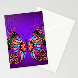 Colorful Butterflies and Flowers V23 Stationery Cards