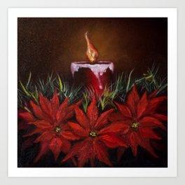 Candlelit Poinsettia's Art Print