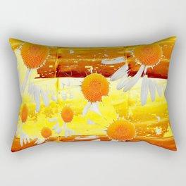 golden daisies pattern Rectangular Pillow
