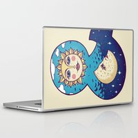 sun and moon Laptop & iPad Skins featuring sun loves moon by Lidija Paradinović Nagulov - Celandine