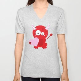 Cute Monster, Red Monster, Monster In Love, Heart Unisex V-Neck