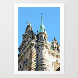 Low angle view of Town Hall in Hamburg Art Print
