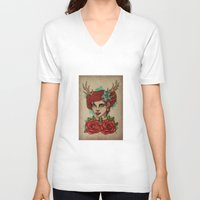 antler V-neck T-shirts featuring Antler Girl by Tarren Malham