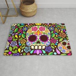 Sugar Skull Floral Naif Art Mexican Calaveras Rug