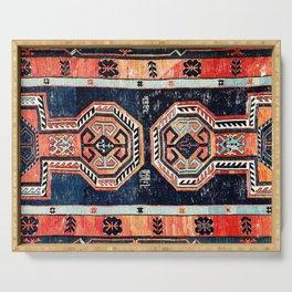 Davagin  Antique Daghestan East Caucasus Kilim Print Serving Tray