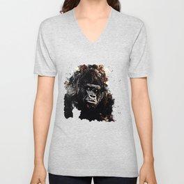 gorilla monkey face expression wsfn Unisex V-Neck