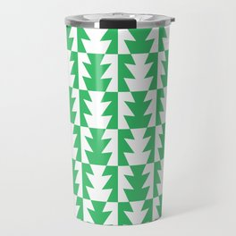 Art Deco Jagged Edge Pattern Green Travel Mug