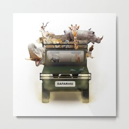 African Safari Animals in Jeep Metal Print