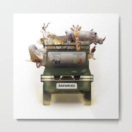 African Safari Animals in Jeep Metal Print