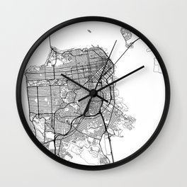 San Francisco Map White Wall Clock