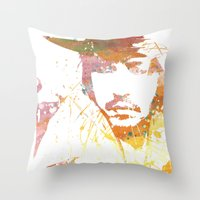 johnny depp Throw Pillows featuring Johnny Depp by Nechifor Ionut