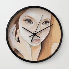 Self Portrait on Wood Wall Clock