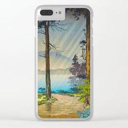 Tsuchiya Kôitsu Japanese Woodblock Vintage Print Light Shining Through Forest Trees Lake Clear iPhone Case