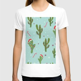 Cactus With Colorful Light Bulb. Merry Christmas and Happy New Year Seamless Pattern T-shirt