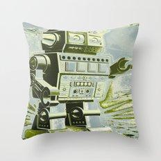 Robot Wars Pop Art Throw Pillow