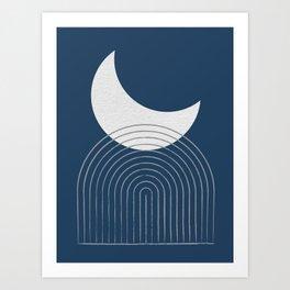 Moon Mountain Blue - Mid Century Modern Art Print