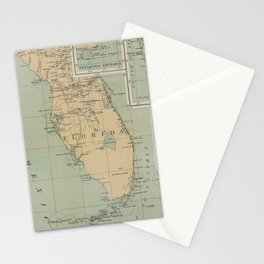 Vintage Lighthouse Map of Florida (1898) Stationery Cards