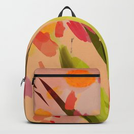 Abstract Floral Textures on Sun Tones. Backpack
