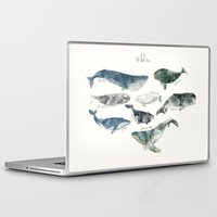 typography Laptop & iPad Skins featuring Whales by Amy Hamilton
