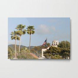 Palm Tree Flag Metal Print