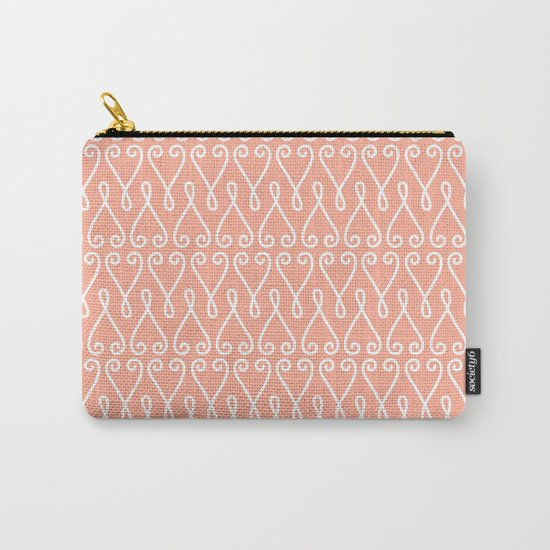 White Ornamental Designs on Pink Background Carry-All Pouch