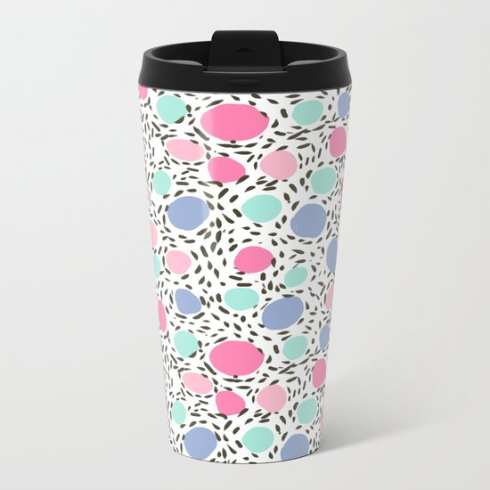 Minimal dots dotted pattern painted pastel polka dots minimalist art and decor Metal Travel Mug