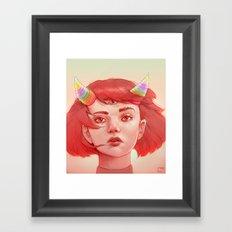 Red girl with horns Framed Art Print