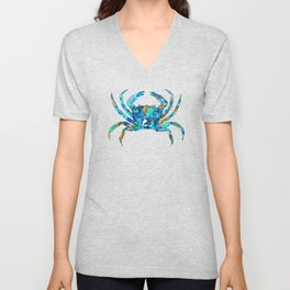 Blue Crab Art by Sharon Cummings Unisex V-Neck