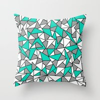 Throw Pillows featuring Modern Teal, Black, & White Striped Triangles by BlackStrawberry