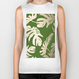 Palm Leaves White Gold Sands on Jungle Green Biker Tank