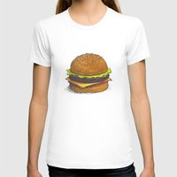 burger T-shirts featuring Burger by RedNoseBlueCheeks