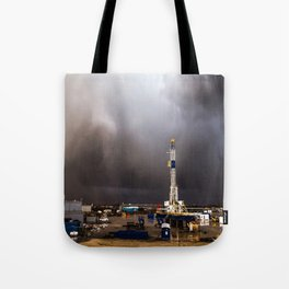 Oil Rig - Storm Passes Behind Derrick in Central Oklahoma Tote Bag