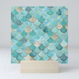 Moroccan Mermaid Fish Scale Pattern, Aqua,Teal Mini Art Print
