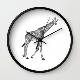 Giraffe Ink Illustration Wall Clock