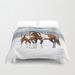 Bay Paint Horse Mare and Foal In Winter Duvet Cover