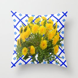 Yellow Blooming Dandelion Flowers On Delft Blue Tile Throw Pillow