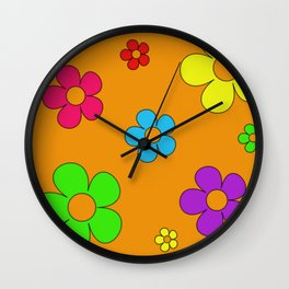 Flashback Orange Wall Clock
