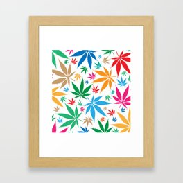 marijuana leaf color pattern Framed Art Print