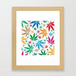 marijuana leaf color pattern Framed Art Print