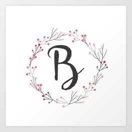 Floral Initial Wreath Monogram B Art Print