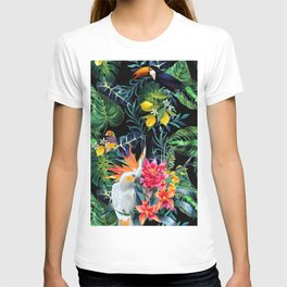 Tropical Pattern With Birds And Lemon Fruit Print.Exotic Flowers And Palm Leaves On Dark Background. T-shirt