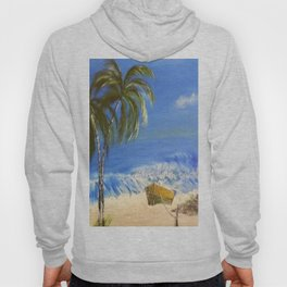 Rocky Weather on the Beach  Oil on Canvas Hoody
