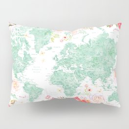Mint green and hot pink watercolor world map with cities Pillow Sham