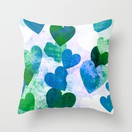 Fab Green & Blue Grungy Hearts Design Throw Pillow