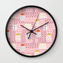 Abstract pink black hand painted geometrical pattern Wall Clock