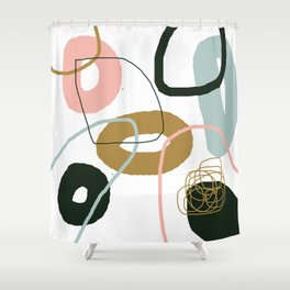 Crooked Circle Abstract Pink Blue Black Brown Shower Curtain