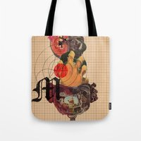 dramatical murder Tote Bags featuring Murder Mind by Lewis Mclean
