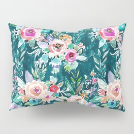 EFFUSIVE FLORAL Dark & Colorful Boho Pattern Pillow Sham