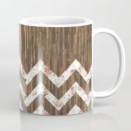 Vintage Preppy Floral Chevron Pattern Brown Wood Coffee Mug
