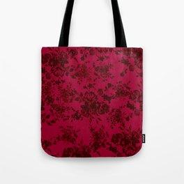 Vintage black gray red bohemian floral pattern Tote Bag